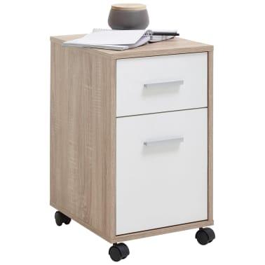 FMD Armoire mobile à tiroir Couleur chêne et blanc[1/4]