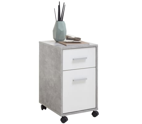 FMD Mobile Drawer Cabinet Concrete and White