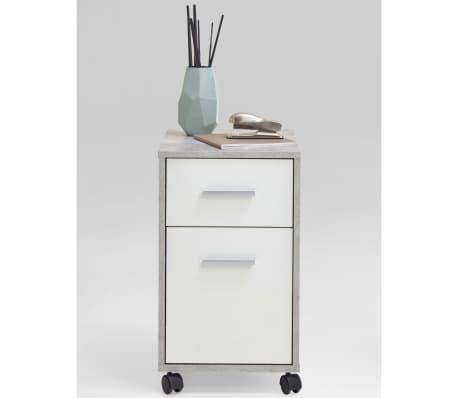 FMD Armoire mobile à tiroir Couleur béton et blanc[2/4]