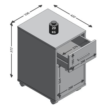 FMD Armoire mobile à tiroir Couleur béton et blanc[4/4]