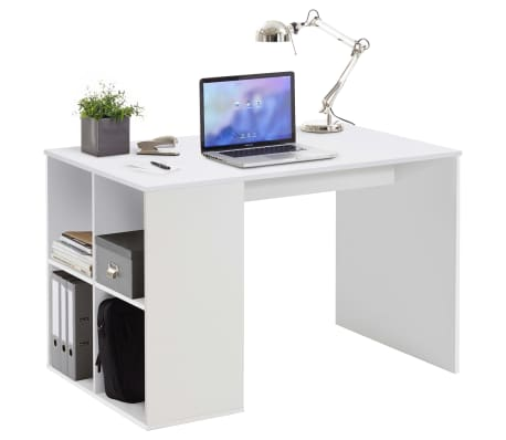 FMD Bureau avec étagères latérales 117 x 72,9 x 73,5 cm Blanc