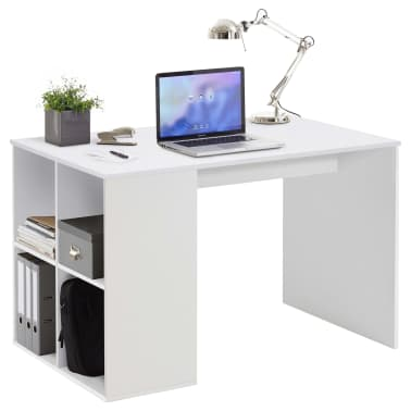 FMD Bureau avec étagères latérales 117 x 72,9 x 73,5 cm Blanc[1/2]