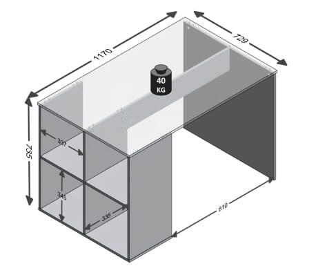 FMD Bureau avec étagères latérales 117 x 72,9 x 73,5 cm Blanc[2/2]
