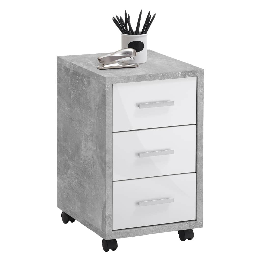 FMD Dulap mobil cu sertare, gri beton și alb extralucios vidaxl.ro
