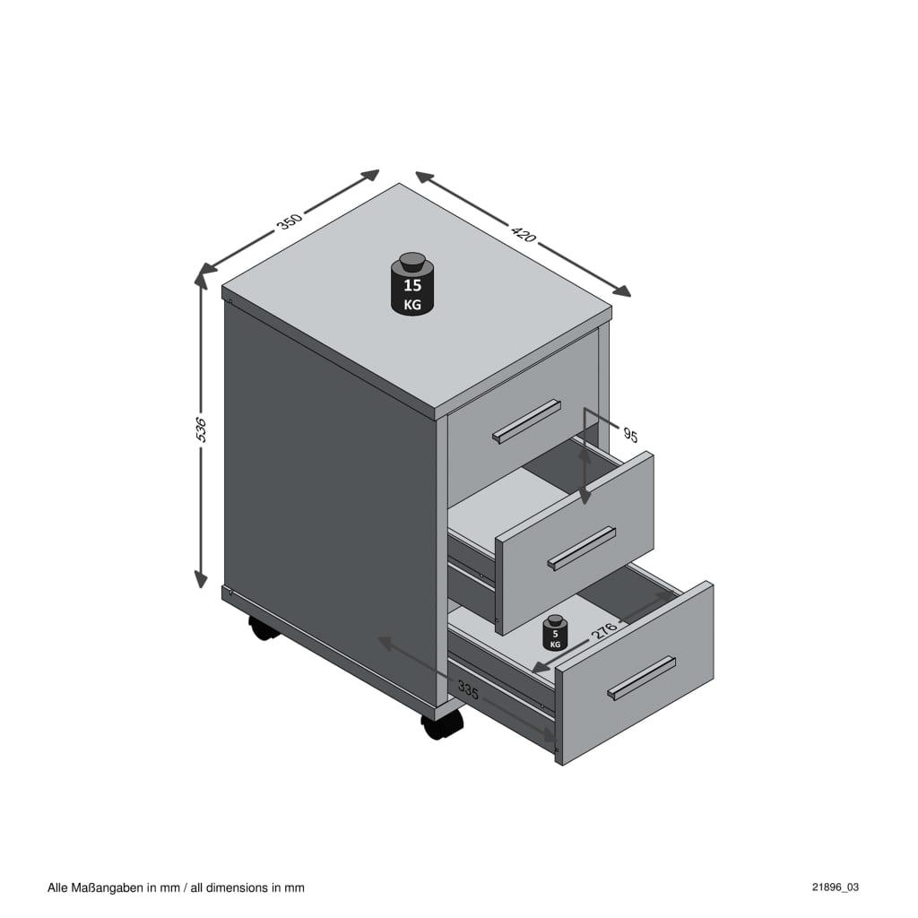 FMD Ladekast verplaatsbaar betonkleurig en hoogglans wit