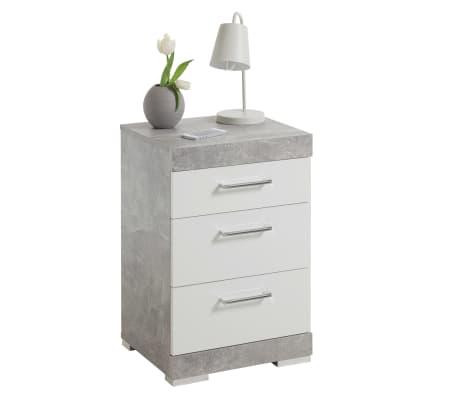 FMD Noptieră cu 3 sertare, gri beton și alb lucios