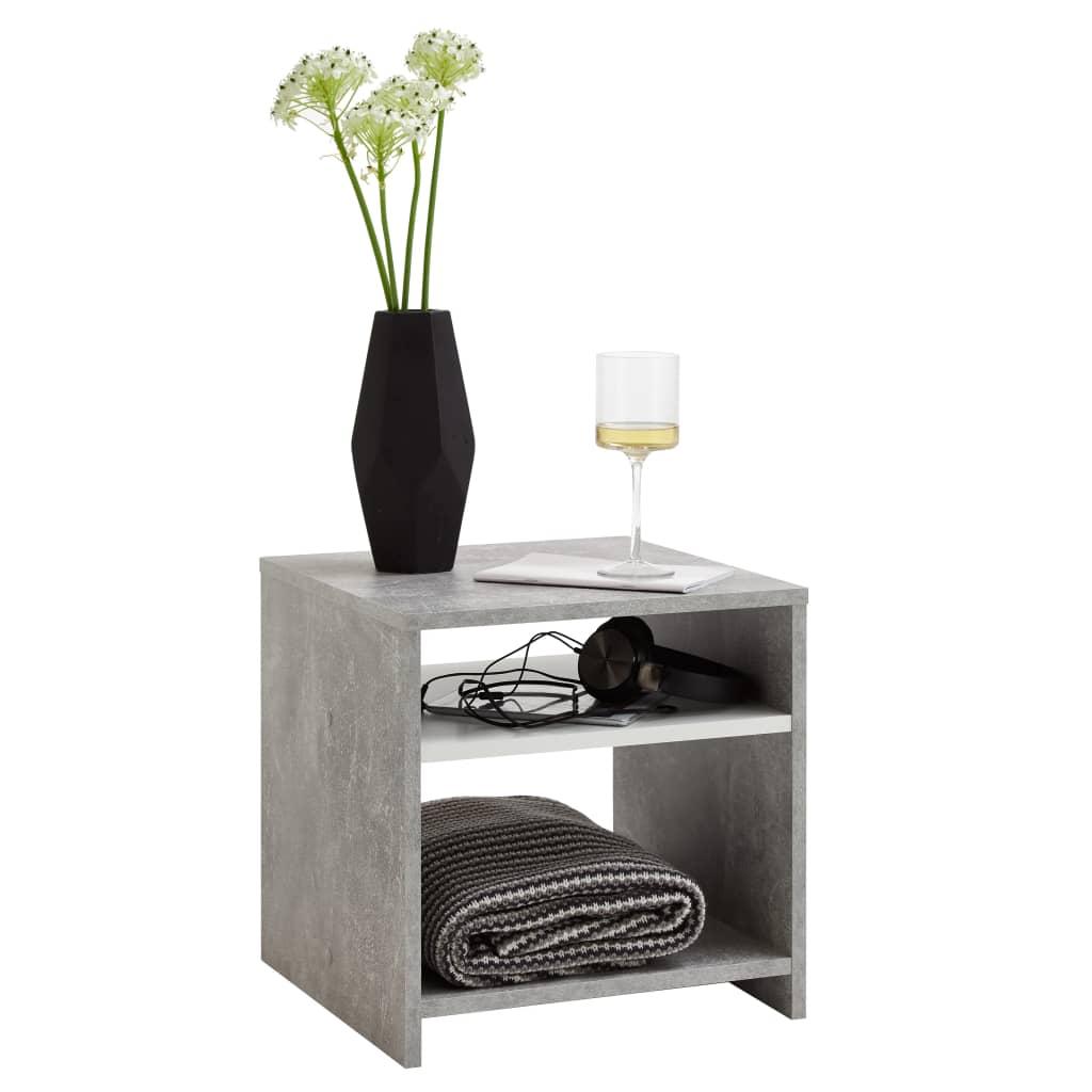 FMD Stolik kawowy z półką, kolor betonowy szary i biały