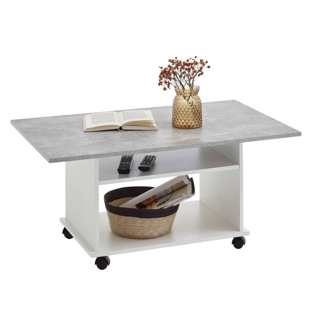 FMD Stolik kawowy z kółkami, kolor betonowy szary i biały