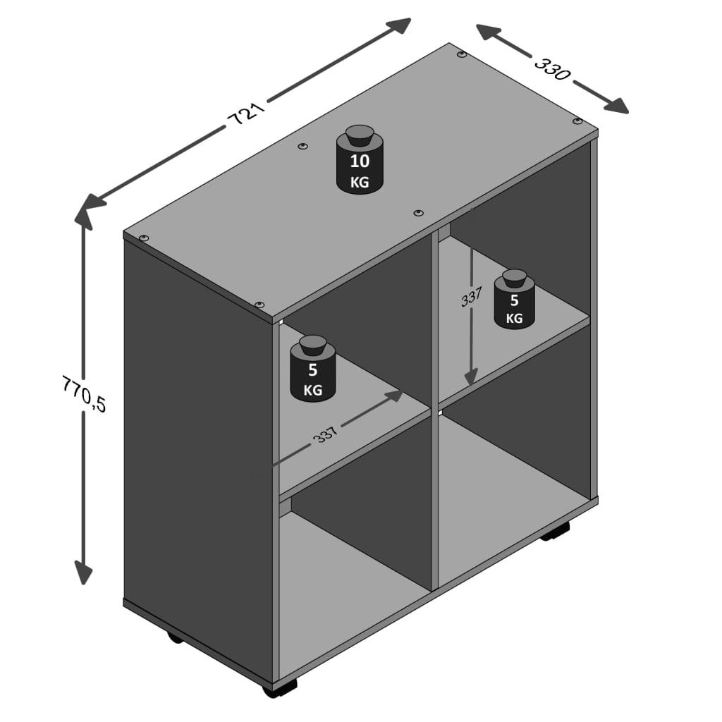 FMD Kast op zwenkwielen met 4 vakken wit