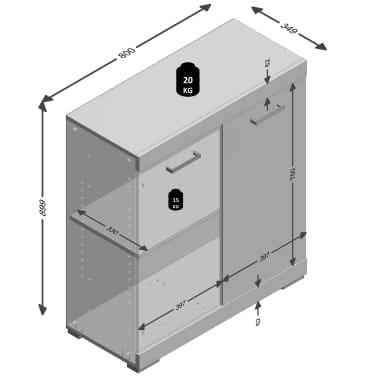 FMD Armoire avec 2 portes 80 x 34,9 x 89,9 cm Chêne[5/5]