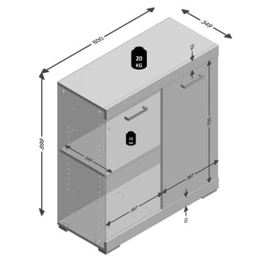 FMD Armoire avec 2 portes 80 x 34,9 x 89,9 cm Blanc et béton[5/5]