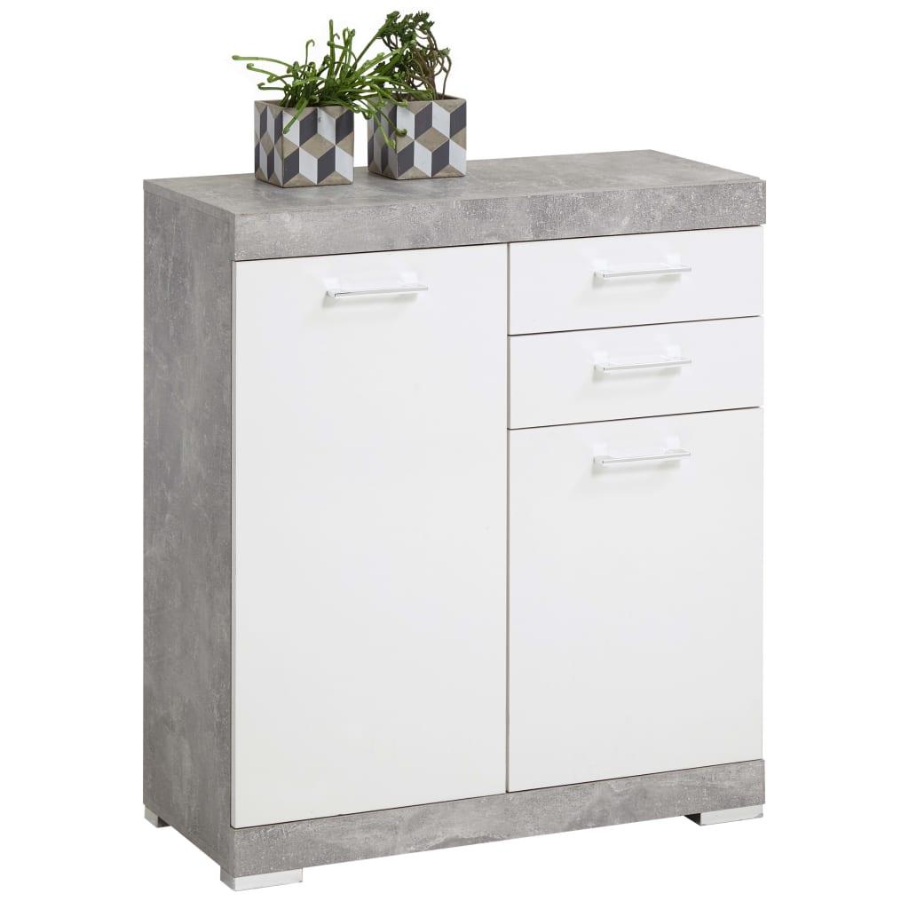 FMD Dulap cu 2 uși și 2 sertare, 80x34,9x89,9 cm, gri beton și alb vidaxl.ro