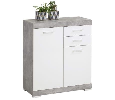 FMD Kast met 2 deuren en 2 lades 80x34,9x89,9 cm betonkleurig en wit