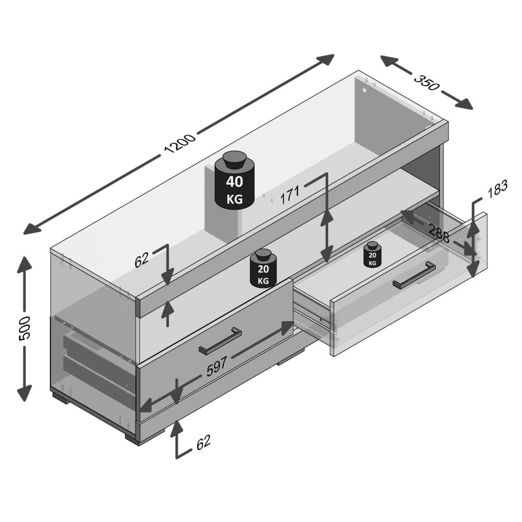 FMD Tv/hifi-standaard betongrijs en glanzend wit