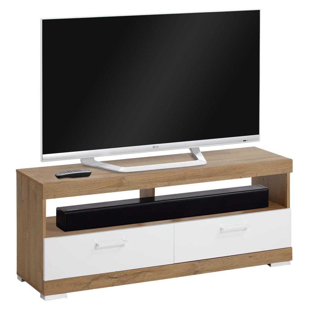 FMD Suport TV/Hi-Fi, stejar antichizat și alb lucios vidaxl.ro