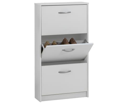 FMD Mueble zapatero con 3 compartimentos basculantes blanco