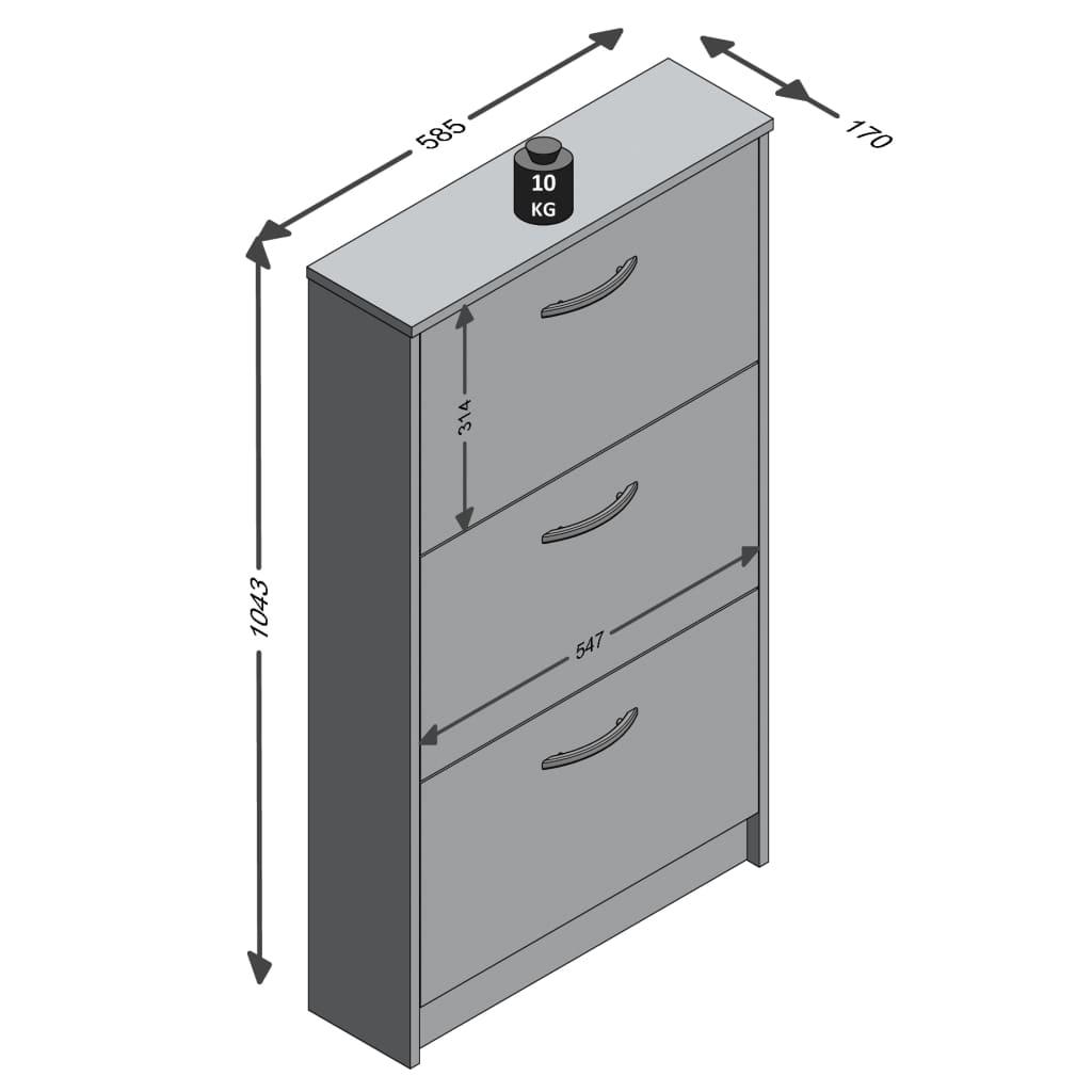 FMD Schoenenkast met 3 kantelende vakken wit