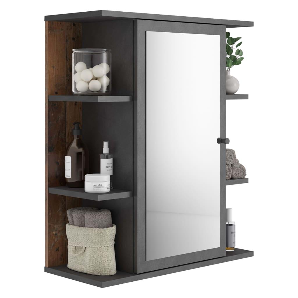 FMD Dulap de baie cu oglindă, stil vechi Matera de culoare închisă vidaxl.ro