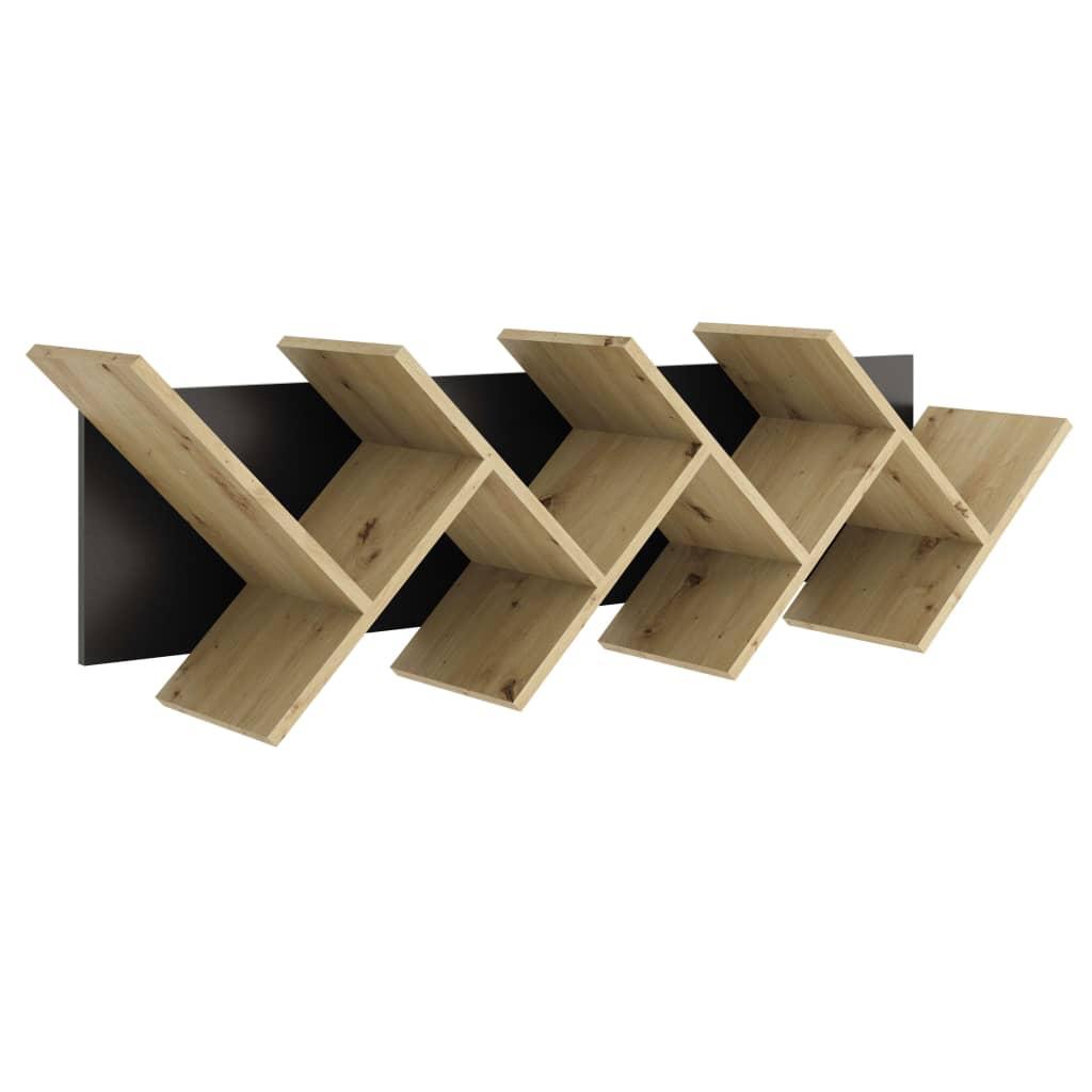 FMD Mensola a Muro Design Geometrico Rovere e Nero