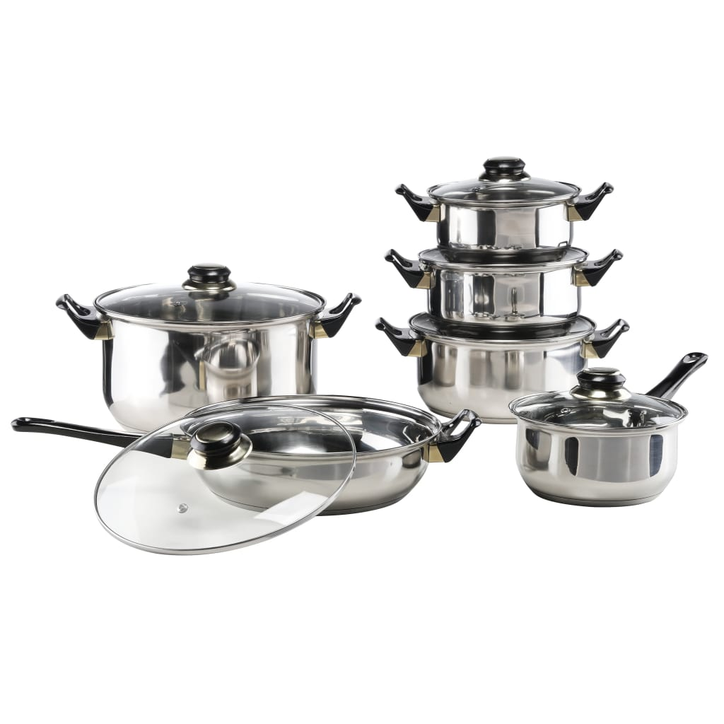 HI Set vase de gătit, 12 piese, oțel inoxidabil imagine vidaxl.ro