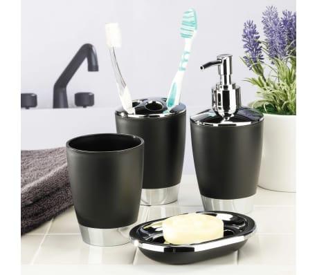 HI Ensemble d'accessoires de salle de bain 4 pcs Noir et argenté