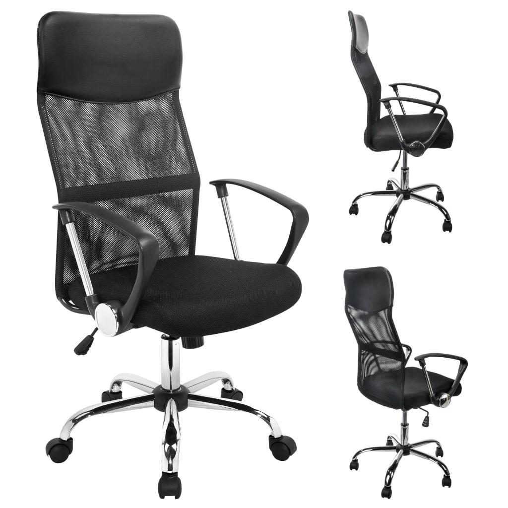 vidaXL Scaun de birou, negru, oțel imagine vidaxl.ro