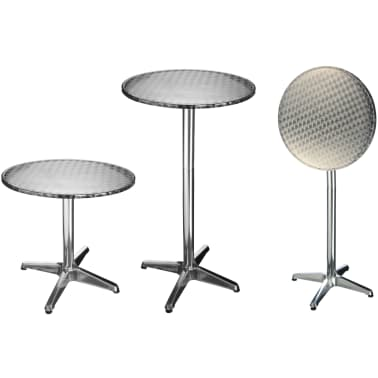 HI Table de bistro-bar pliable Aluminium Rond 60 x 60 x (58-115) cm[1/2]