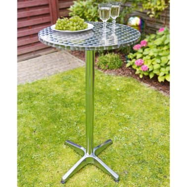 HI Table de bistro-bar pliable Aluminium Rond 60 x 60 x (58-115) cm[2/2]