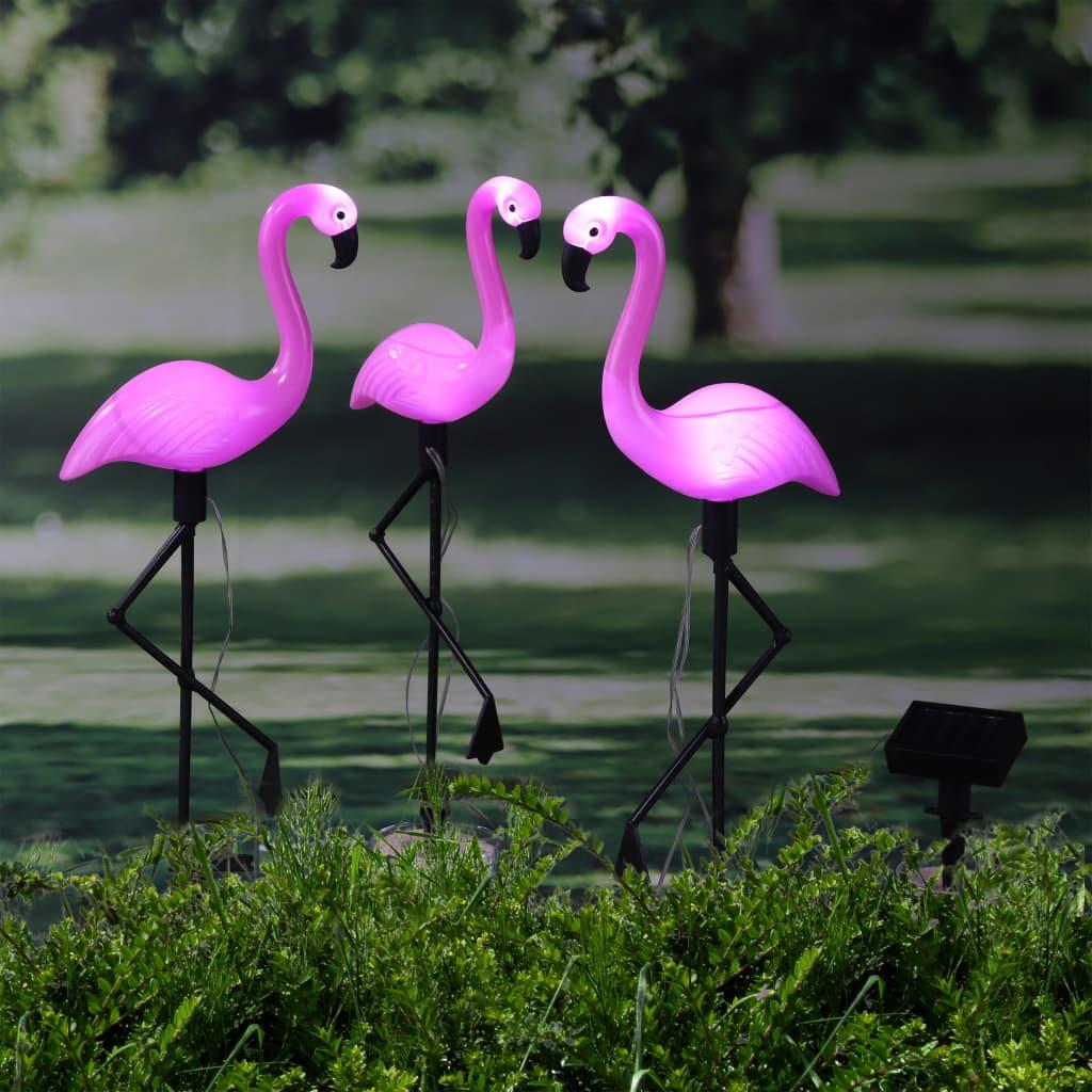 HI Lampă solară de grădină cu LED și țăruș, flamingo, 3 buc. poza vidaxl.ro