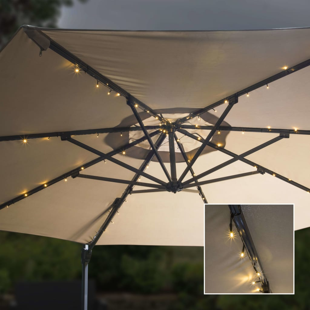 HI Parasol lichtslinger solar LED 130 cm