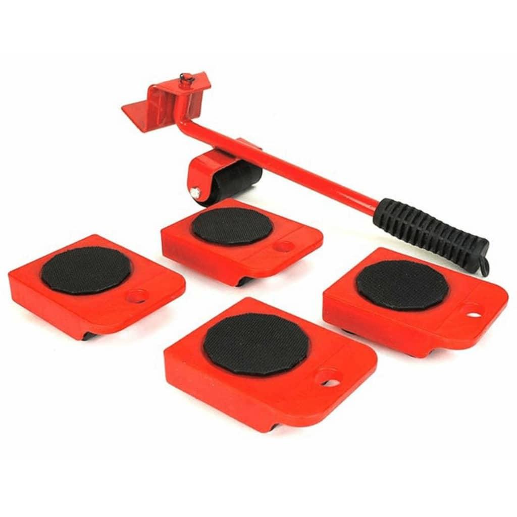 HI Set cu roți pentru transport mobilier, roșu și negru vidaxl.ro