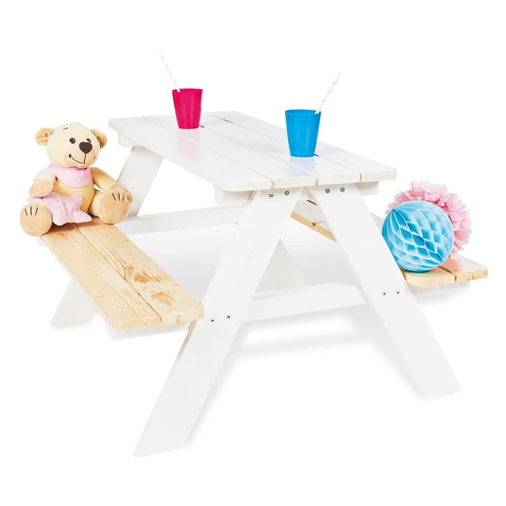 Pinolino picnicbord med bænke til børn Nicki für 4 træ hvid