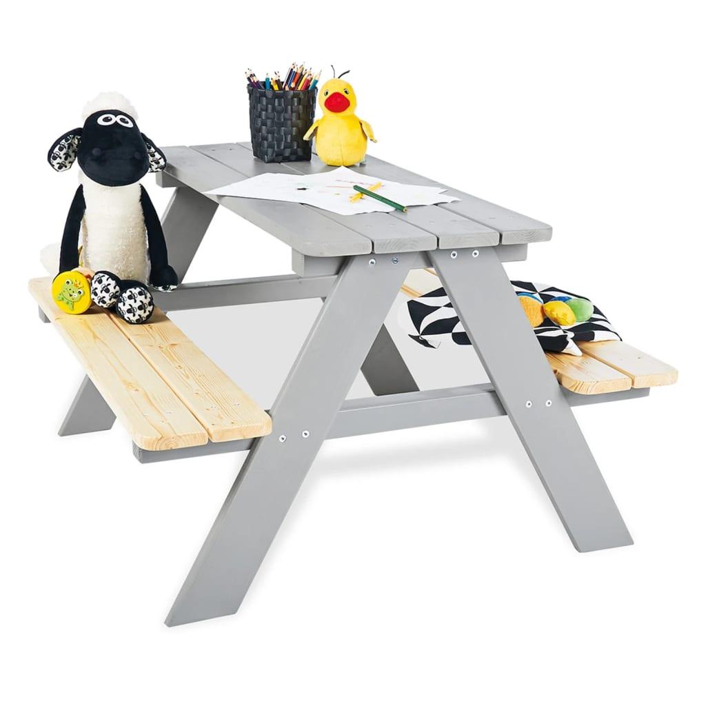 Pinolino picnicbord med bænke til børn Nicki für 4 træ grå