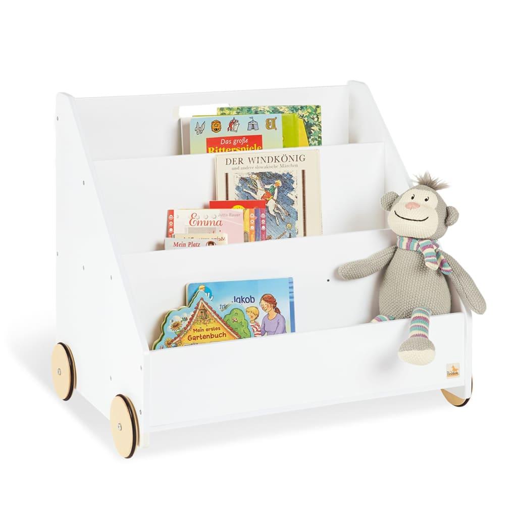 Pinolino Bibliotecă pentru copii Lasse, alb, cu roți imagine vidaxl.ro