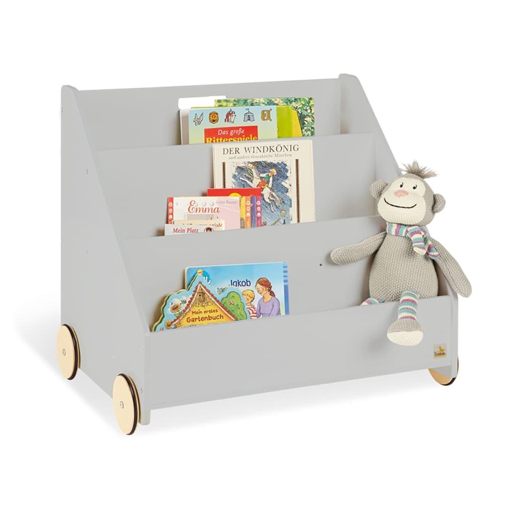 Pinolino Bibliotecă pentru copii Lasse, gri, cu roți imagine vidaxl.ro