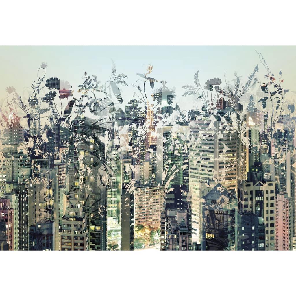 Duża, piękna i kolorowa fototapeta Urban Jungle marki Komar przedstawia bogactwo kwiatów pokrywające krajobraz miejski oraz stanowi prosty sposób na ożywienie pokoju i podkreślenie własnego stylu wnętrza.