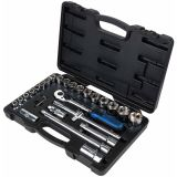 KS Tools CHROMEplus skraldenøgle-, toppe- og bitssæt 28 dele 918.0728