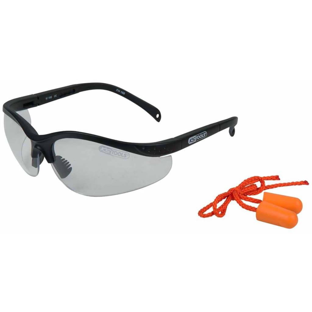 Afbeelding van KS Tools Veiligheidsbril met oordopjes transparant 310.0176