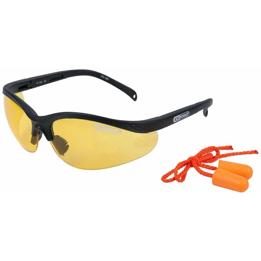 Afbeelding van KS Tools Veiligheidsbril met oordopjes geel 310.0166