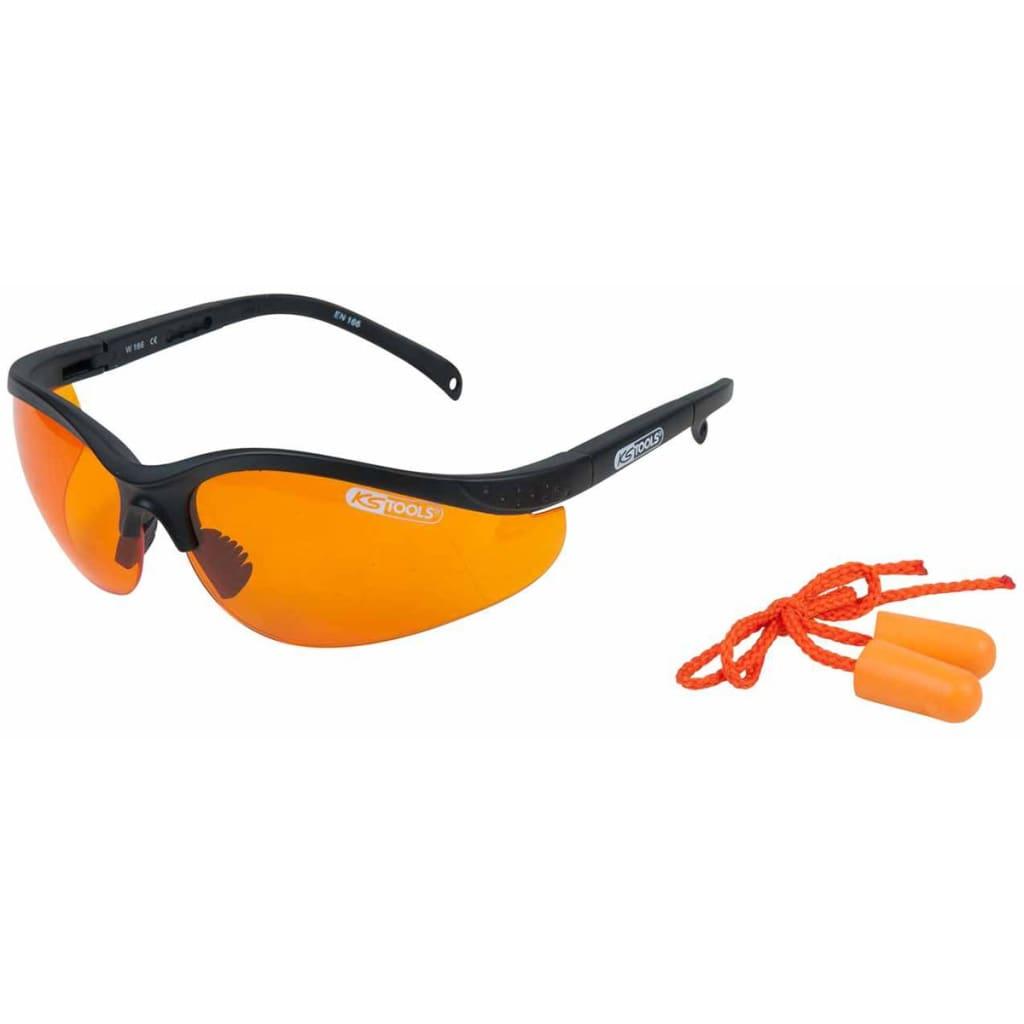 Afbeelding van KS Tools Veiligheidsbril met oordopjes oranje 310.0161