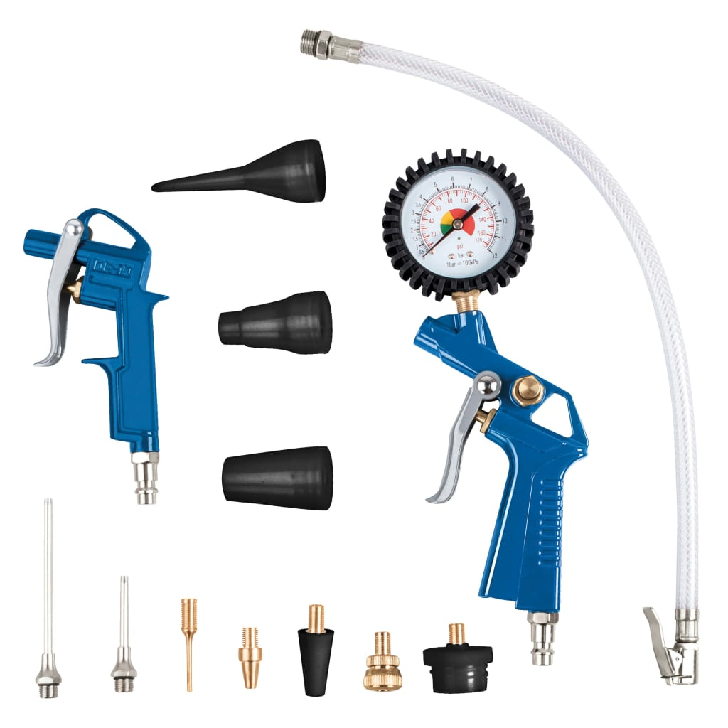 Scheppach Kit Pistola ad Aria Compressa 13pz con Gonfiatore Pneumatici