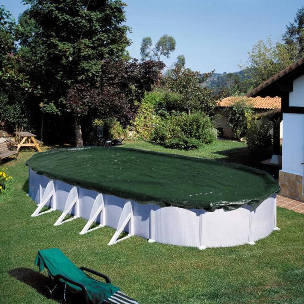 Summer Fun Prelată de piscină pentru iarnă, verde, 800 cm, PVC, oval poza 2021 Summer Fun