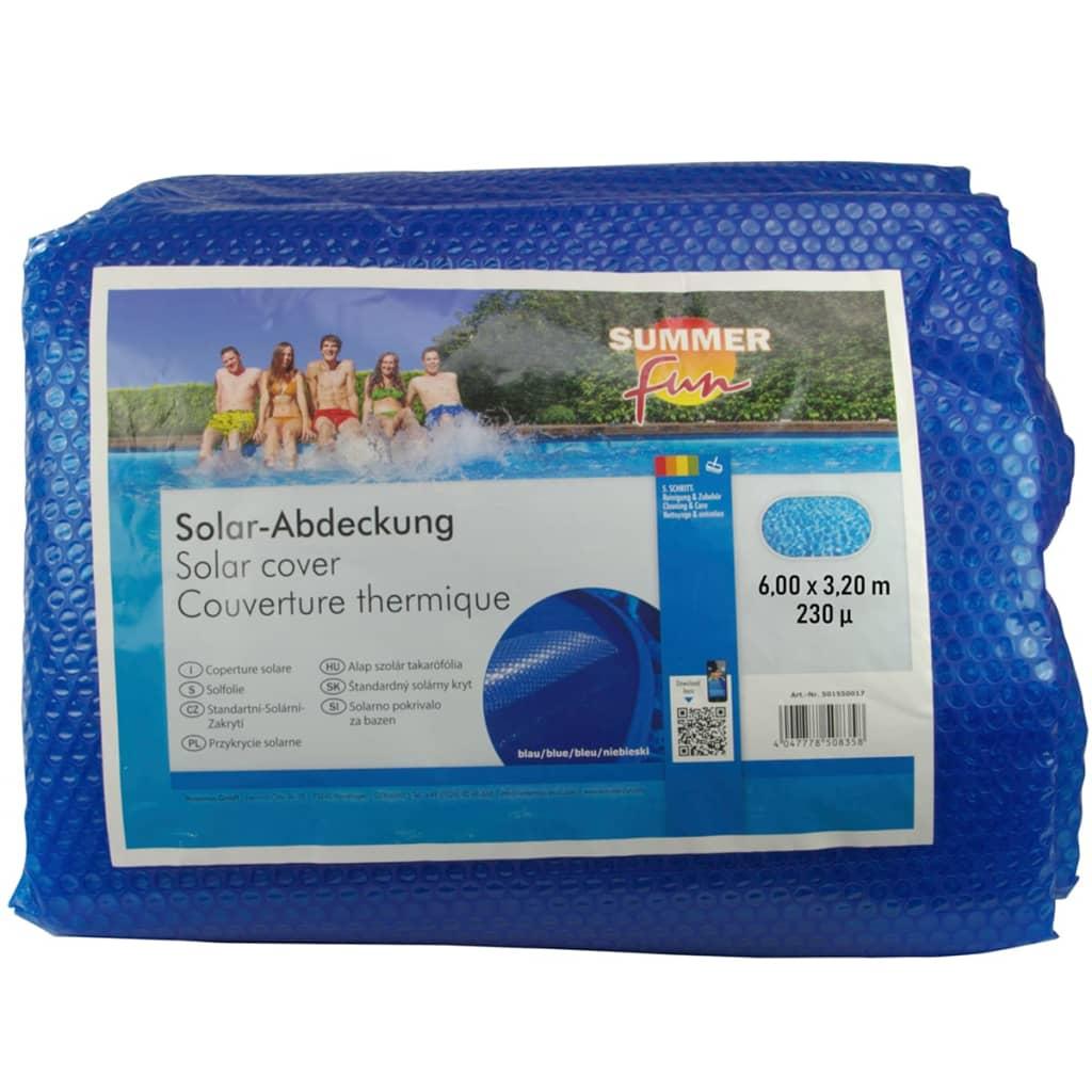 Summer Fun Prelată piscină solară de vară albastru 600x320 cm PE oval imagine vidaxl.ro