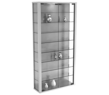 Vitrinekast wandvitrine Vitrosa Maxi met LED verlichting (zilver ...