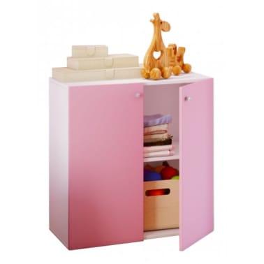 Kleiderschrank Schrank Kinderzimmer Vandol Mini weiß mit rosa Türen