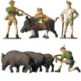 Modélisme HO : Figurines : Set chasseurs et sangliers