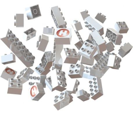 knikkerbaan: bouwstenen wit 105-delig