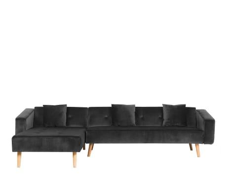 Sofá de canto em veludo preto, versão direita VADSO