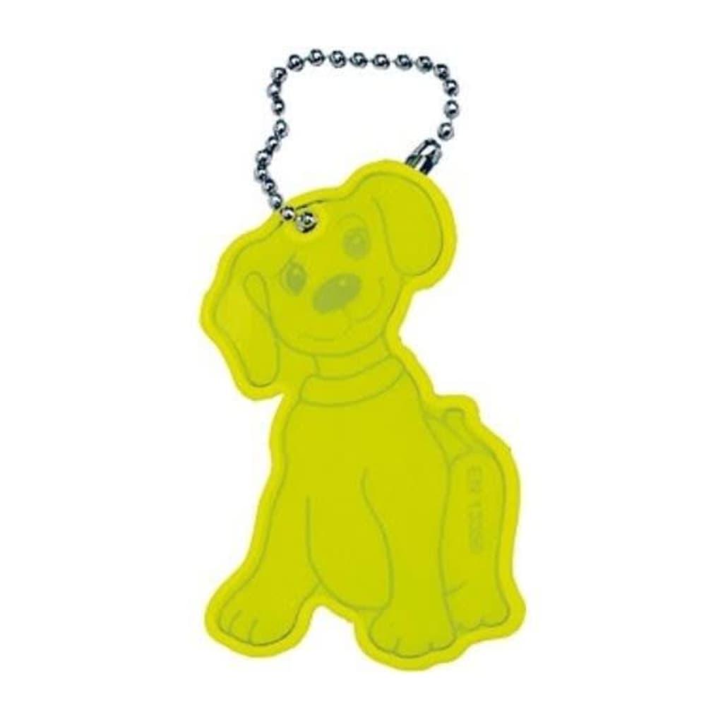 Afbeelding van 4 Act Reflecterende Hanger Hond Geel 7 cm
