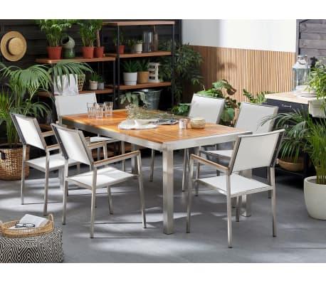 Table de jardin en bois acajou 180 x 90 cm GROSSETO | vidaXL.be